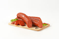 Sliced Pepperoni Sausages Stock Image