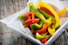 Sliced peppers Stock Images