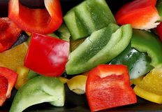 Sliced peppers Stock Photos