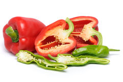 Sliced Peppers Royalty Free Stock Images