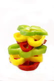 Sliced peppers stacked Royalty Free Stock Photo