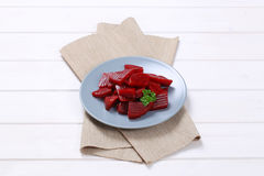 Sliced and pickled beetroot Royalty Free Stock Images
