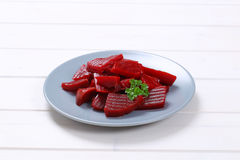 Sliced and pickled beetroot Stock Photography