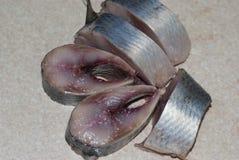 Sliced pickled herring Stock Photo