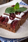 sliced piece of plum cake with cocoa Royalty Free Stock Images