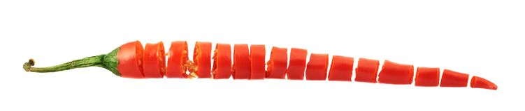 Sliced in pieces chili pepper isolated Royalty Free Stock Image