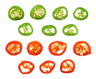 Sliced in pieces chili pepper isolated Royalty Free Stock Photos