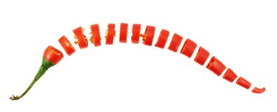 Sliced in pieces chili pepper isolated Royalty Free Stock Photo