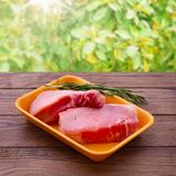 Sliced ??pieces of raw meat for barbecue Stock Images