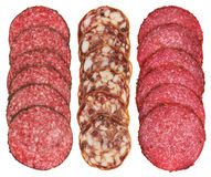 Sliced pieces of salami set Stock Images