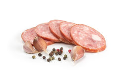 Sliced pieces of sausage Stock Image