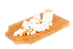 Sliced pig lard on cutting board stock image