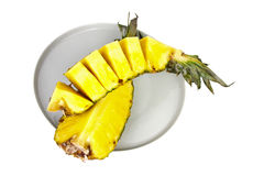 Sliced pineapple. Fresh sliced pineapple on a plate Stock Photo