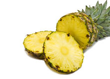 Sliced pineapple. Isolated on white Royalty Free Stock Photos
