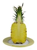 Sliced pineapple. Isolated image of a sliced pineapple on a plate Royalty Free Stock Photo