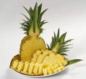 Sliced pineapple. Fresh sliced pineapple on white background stock photo