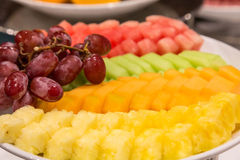 Sliced Pineapple and Melon with Grapes Stock Photo