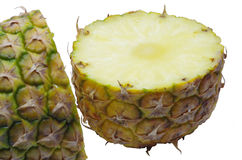 Sliced pineapple over white Royalty Free Stock Images