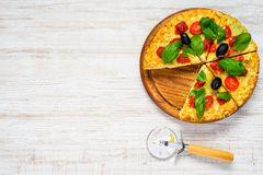 Sliced Pizza on Copy Space Text Area Stock Image