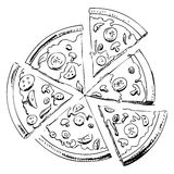 Sliced pizza icon Royalty Free Stock Images