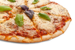 Sliced pizza margarita Stock Photos