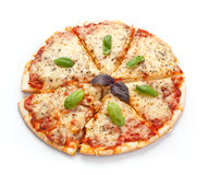Sliced Pizza Margherita Stock Images