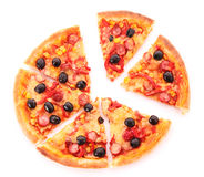 Sliced pizza with olives isolated Stock Photography
