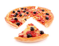 Sliced pizza with olives isolated Royalty Free Stock Image
