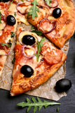 Sliced pizza, top view Royalty Free Stock Image