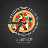 Sliced pizza and watercolor sketch of plate on grunge black chalkboard background. Royalty Free Stock Image