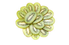Sliced on a plate slices of tropical fruit kiwi on white background Stock Image