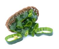 Sliced poblano pepper. On bamboo basket on white background stock images