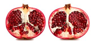 Pomegranate. Sliced pomegranate path isolated on white stock images