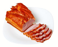 Sliced pork (bacon) (isolated). Sliced pork (bacon), isolated on a white background Royalty Free Stock Photo