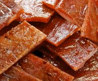The sliced of pork jerky closeup Royalty Free Stock Photography