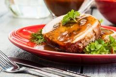 Sliced pork lion roll stuffed with mushrooms Royalty Free Stock Photos
