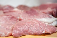 Sliced pork meat Stock Images