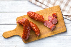 Sliced pork sausage Stock Photos