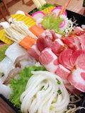 Sliced pork, shrimp, noodle and vegetables for shabu s Royalty Free Stock Image