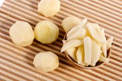 Sliced potatoes. Close up view of some sliced potatoes isolated on bamboo background royalty free stock photo