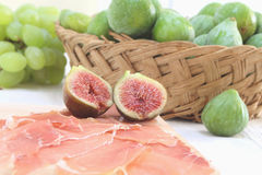 Sliced prosciutto crudo and figs Royalty Free Stock Photo