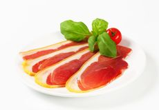 Sliced prosciutto crudo Stock Photography