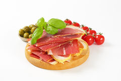 Sliced prosciutto Royalty Free Stock Photos