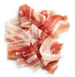 Sliced prosciutto. Or parma ham isolated on white background. From top view Royalty Free Stock Photo