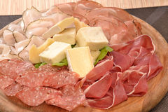Sliced prosciutto salam. I and cheese Royalty Free Stock Images
