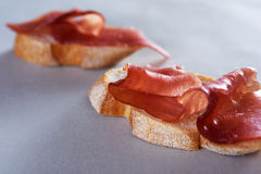 Sliced prosciutto Royalty Free Stock Images