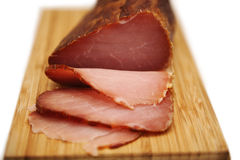 Sliced prosciutto on wooden board Stock Photography
