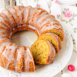Sliced Pumpkin Bundt Cake with Sugar Icing Royalty Free Stock Images