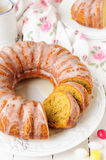 Sliced Pumpkin Bundt Cake with Sugar Icing Stock Photography