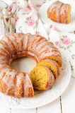 Sliced Pumpkin Bundt Cake with Sugar Icing Royalty Free Stock Photos